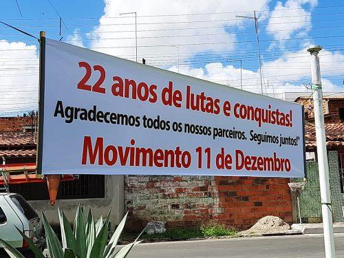 Faixas foram espalhadas pela cidade para relembrar a luta e a vitória das vítimas na Corte Interamericana
