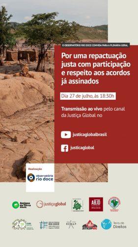 Plenária do Observatório Rio Doce acontece hoje por meio das redes da Justiça Global