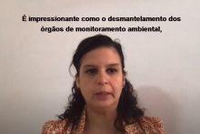 Em vídeo enviado à ONU, a pesquisadora da Justiça Global, Raphaela Lopes, denuncia o desmantelamento dos órgãos de monitoramento ambiental, trabalhista e de saúde no Brasil. Imagem: Reprodução